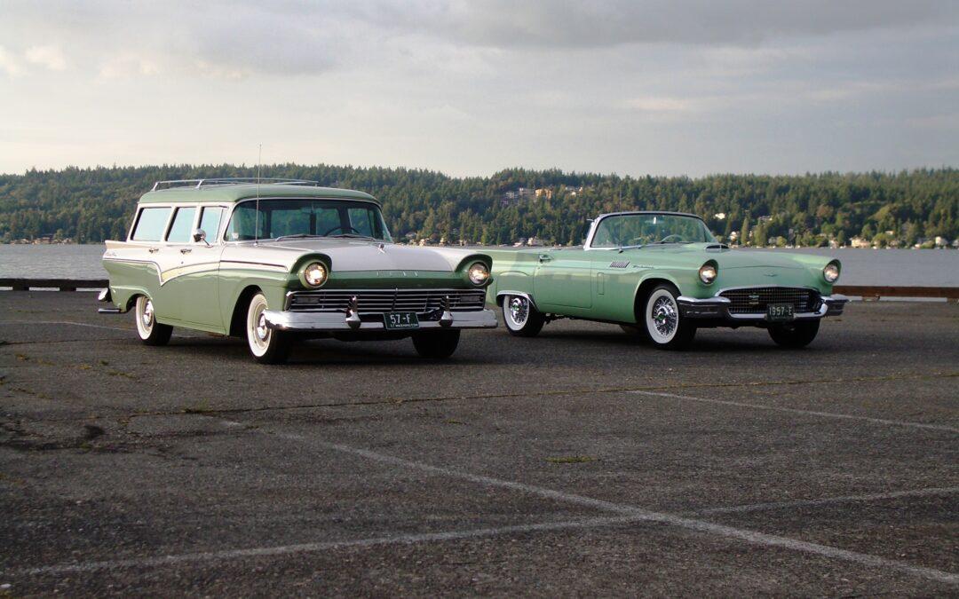 1957 E Model with big sister 1957 F Model Country Sedan